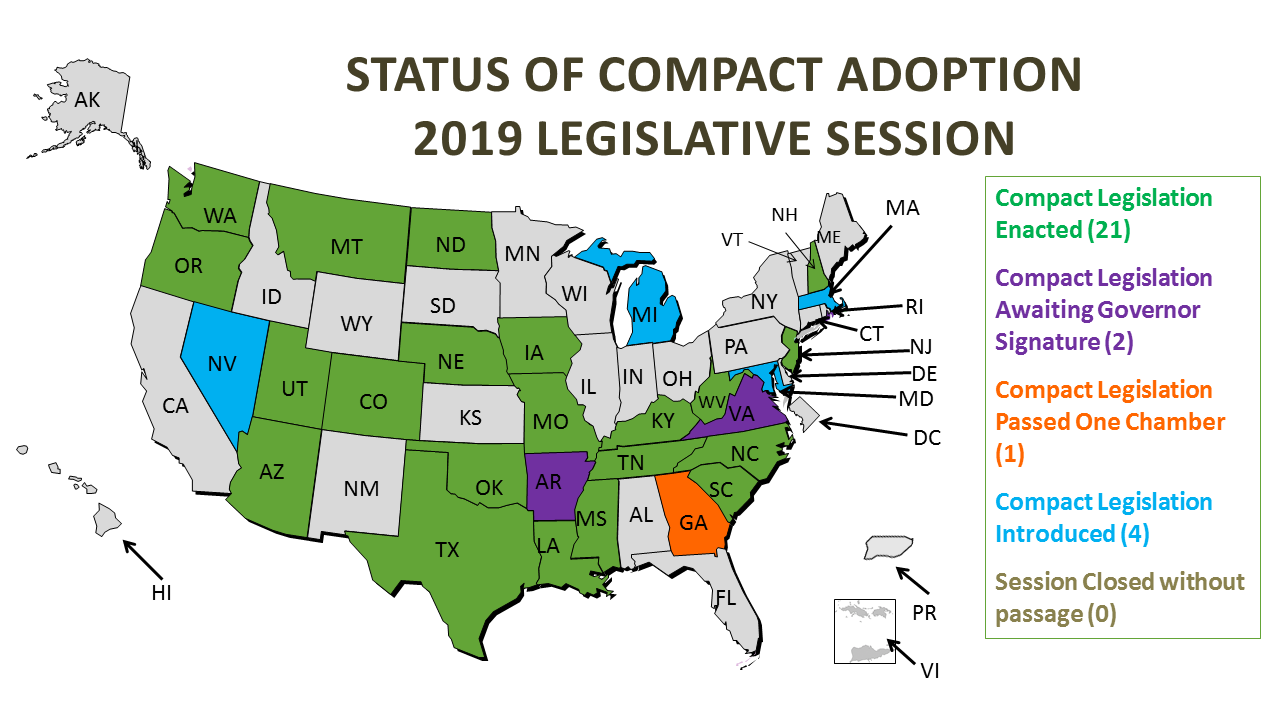 Compact State Map.Physical Therapy Licensure Compact