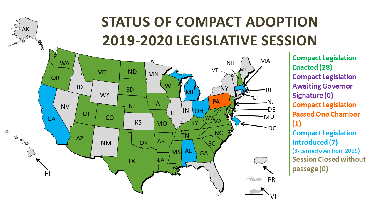 Map of the Status of Compact Adoption in the 2019 Legislative Session. Compact Legislation Enacted (26). Compact legislation awaiting governor signature (0). Compact Legislation passed on chamber (0). Compact legislation introduced (4). Session closed without passage (1).