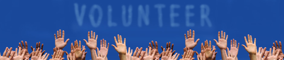 Group of Raised hands with the word Volunteer written in the sky